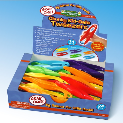 Chunky Kid-Safe Tweezers - Display 24 pcs